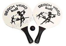 Jeu de Raquettes de Plage + Balle en caoutchouc Beach Ball en Bois Naturel NEUF