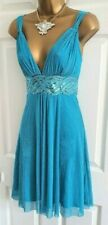 🎀 Jane Norman Blue Grecian Sequin Silver Shimmer Party Summer Dress 10 12 🎀