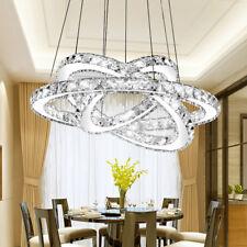 LED Crystal Chandelier Pendant Lamp Ceiling Lighting 3 Ring Lights Cool White