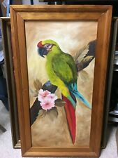Vintage Mid-Century Acrylic Parrot Bird Painting Lucille Davidson Wood Frame