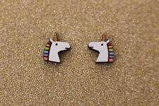 Orecchini a perno unicorno in legno-gioielli in legno, Unicorno di gioielli