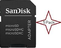 5 Pack Sandisk MicroSD MicroSDHC MicroSDXC to SD SDHC Adapter for Memory Cards