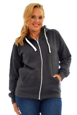 New Plain Plus Size Hoodies Zip Sweatshirt Jacket Coat Fleece Hooded Drawstring
