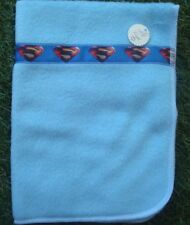 "Dolls Blue Fleece Blanket with ""S"" Superman Ribbon Detail ~Ideal for dolls"