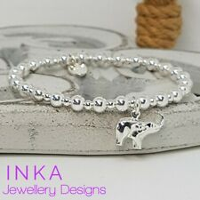 Inka Sterling Silver Chunky beaded Stacking Bracelet with an Elephant charm