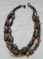 Bohemian Wooden Bead And Mother Of Pearl Multistrand Necklace