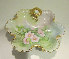 Vint beautifully hand painted flowers-porcelain dish-gold edging-artist signed