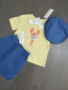 Janie and Jack boy SUMMER 3-piece blue yellow lobster shorts hat SET 12 18