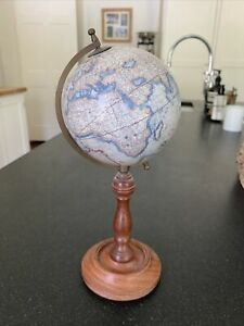 Desk Globe Wooden Stand Antique Finish Vintage