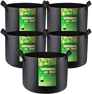 VIVOSUN 5-Pack 30 Gallons Heavy Duty Thickened Nonwoven Fabric Pots Grow Bags