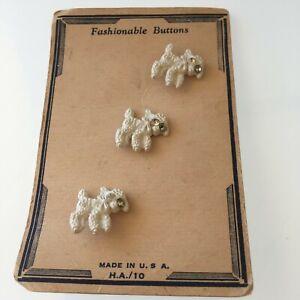 Vintage Goofies Realistic Buttons, Original Card, 3 rhinestone eye lambs