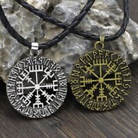 Norse Viking Compass Pendant Nordic Pirate Pendant Cord Rope Necklace Amulet