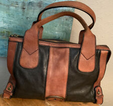 Fossil VTG  Shoulder Bag Satchel/Purse Black/Brown Leather Nice!