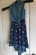 Unicorn Denim Dippy Hem Dress (8yrs)