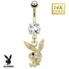 14K Solid Gold PLAYBOY BUNNY Dangle BELLY Button NAVEL Bar RING Piercing Jewelry