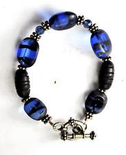 "Sterling Blue Morano Stripe Bead Toggle Clasp Bracelet 7.25"" 16mm"