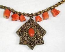 Antique Victorian Brass Genuine CORAL Drops Necklace - Vintage Circa 1800s
