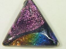 "BUTW Gorgeous Dichroic Glass 39mm 2Tone Triangle Pendant w/ 18"" SP Chain 8733D"