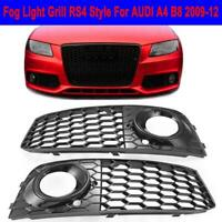 Front Fog Light Grille Honeycomb Mesh Grill Cover RS4 Style For Audi A4 B8 09-12