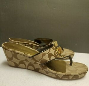 Genuine COACH Womens Wedge Sandals Signature Logo Size 7.5 'NOBLE' Brand New!