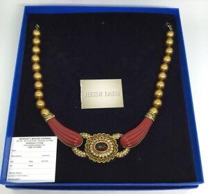 Heidi Daus Coral Gold Pearls - Citrien - Beige -Red Stones Fancy Necklace (C517)