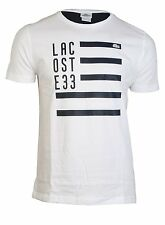 NWT LACOSTE EMBROIDERED CROC NECK T-SHIRT, WHITE AND NAVY BLUE, S, M, L