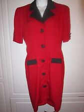 True vintage Red With Black Collar & Buttons Dress Coat Danny & Nicole New York