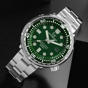 San Martin green Tuna Stainless Steel Watches NH35 Sapphire Men Automatic watch