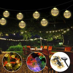 50LED Moroccan Solar Garden String Lights Hanging Lantern Fairy Light Outdoor UK