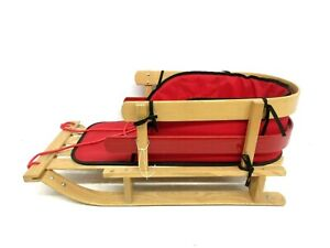 LL BEAN KIDS BABY CHILD'S SOLID WOOD PULL SLED WITH RED CUSHION ROPE PULL 40""
