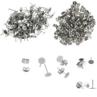 Earring Stud Posts Pads and backs Steel 4/6/8mm 100PCS Hypoallergenic Surgical