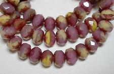25 8x6mm Cotton Candy Pink Opal Cream Glisten Czech Glass  Rondelle beads