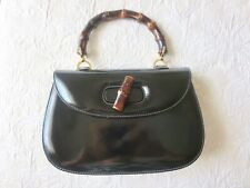 VINTAGE GUCCI Bamboo Line Hand Bag  Black Patent   Leather Italy Auth