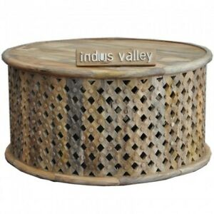 Bristol Carved Round Coffee Table Natural INDIAN HANDMADE FURNITURE