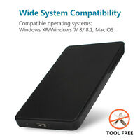 """2.5"""" USB 3.0 Hard Drive Case External Hard SATA HDD SSD with 3.0 Micro USB Cable"""