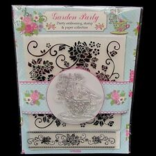 Garden Party 2 Floral Embossing Folders Bird On Teacup Acrylic Stamp