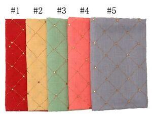 Fashion Plain Color Cotton Scarf Muslim Hijab Shimmer Plaid Scarves Long Shawls