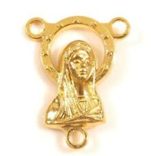 Catholic Vintage Mother Mary Gold Tone Heart Medal Rosary Connector Pendant*Y554