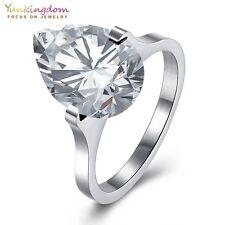 Fashion Pink Clear Teardrop Cubic Zircon Titanium Steel Jewelry Lady Girl Rings