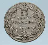 1910 CANADA UK King Edward VII w Crown OLD Genuine Silver 25 CENTS Coin i83280