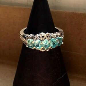 NEW 5-Stone Natural Turquoise Paraiba Apatite Scallop Ring, Platinum, Size 5