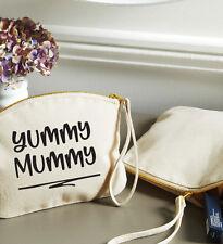 Yummy Mummy Cosmetic Case, Make Up Bag & Wristlet Strap, 19x17cm, Cotton Canvas