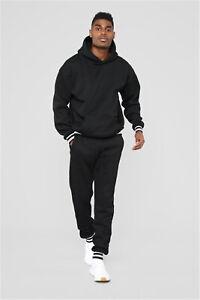 Men Jogger Tracksuit 2 Piece Sport Casual Hoodie Pants Coat Sweatshirt Set