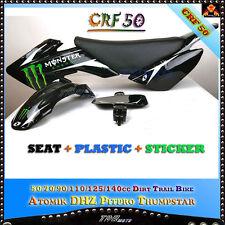 CRF50 PLASTICS + STICKERS + SEAT PIT BIKE 50/70/90/110/125 CC ATOMIK PITPRO DHZ