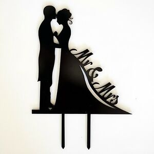 MR and MRS SILHOUETTE Black Wedding Cake Topper Laser Cut Bride and Groom USA