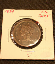 1854 Braided Hair Large Cent F Fine