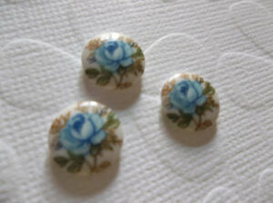 Vintage Cameos - Blue Rose on White Glass Cabochons - 10mm - Qty 6