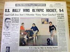 <1960 newspaper USA OLYMPICS HOCKEY TEAM WINS 1st GOLD MEDAL def Czechoslovakia