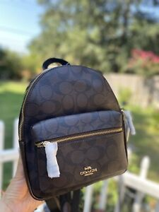 NWT Coach 39034 Mini Charlie Backpack in Signature Canvas with Leopard Print