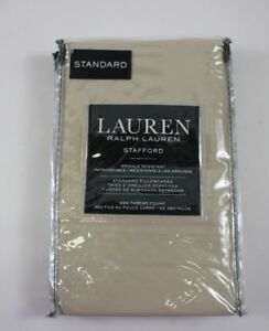 NWT $55 RALPH LAUREN Khaki STAFFORD Cotton SATEEN Set/2 Standard Pillowcases